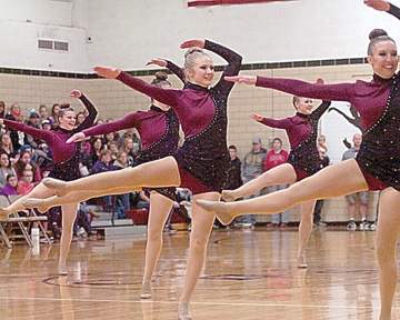 Staff photo by Steve Muscatello Members of the New Ulm Cathedral High School Dance Team perform during the varsity Jazz portion of the competition Saturday at CHS. For more photos of this event go to cu.nujournal.com