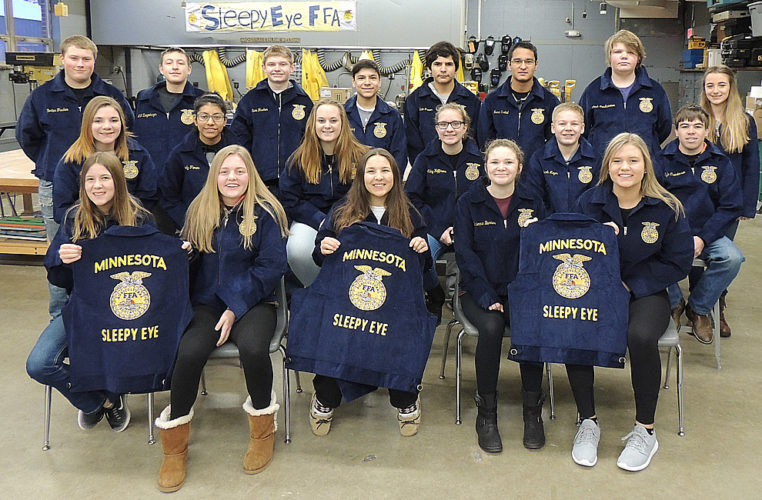 Sleepy Eye FFA members received FFA jackets of their own from the Minnesota FFA Foundation. Pictured L to R, front – Cali Rossbach, Emma Fischer, Courtney Sellner, Brienna Barnes, Alexa Steffl. Middle- Lexxy Rudolph, Sabrina Arista, Kathryn Schroepfer, Abby Hoffmann, Jacob Meyer, Kyle Christensen. Back- Carter Fischer, AJ Ziegenhagen, Evan Fischer, Juan Cortez, Edwin Flores, Isaac Finstad, Josh Landkammer, Crystal Hecht. Not pictured: Isabel Martinez, Leslie Flores, and Sandy Flores. (Submitted Photo)