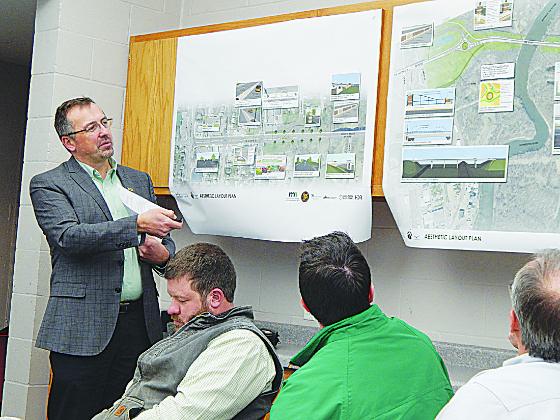 Staff photo by Fritz Busch  New Ulm Gateway 14/15 Project Manager Chris Chromy of Bolton & Menk, Inc., Burnsville, discusses the $33 million, two-year project set to begin this fall at a construction staging workshop at the New Ulm Community Center Monday.