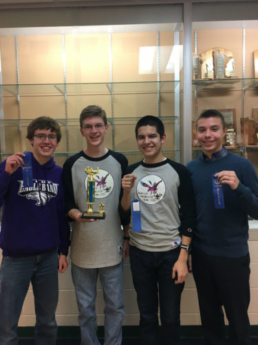 1st place: New Ulm Purple: left to  right, Dan Lindquist, Jacob Todd, Rodrigo Tojo Garcia and Peter Spengler