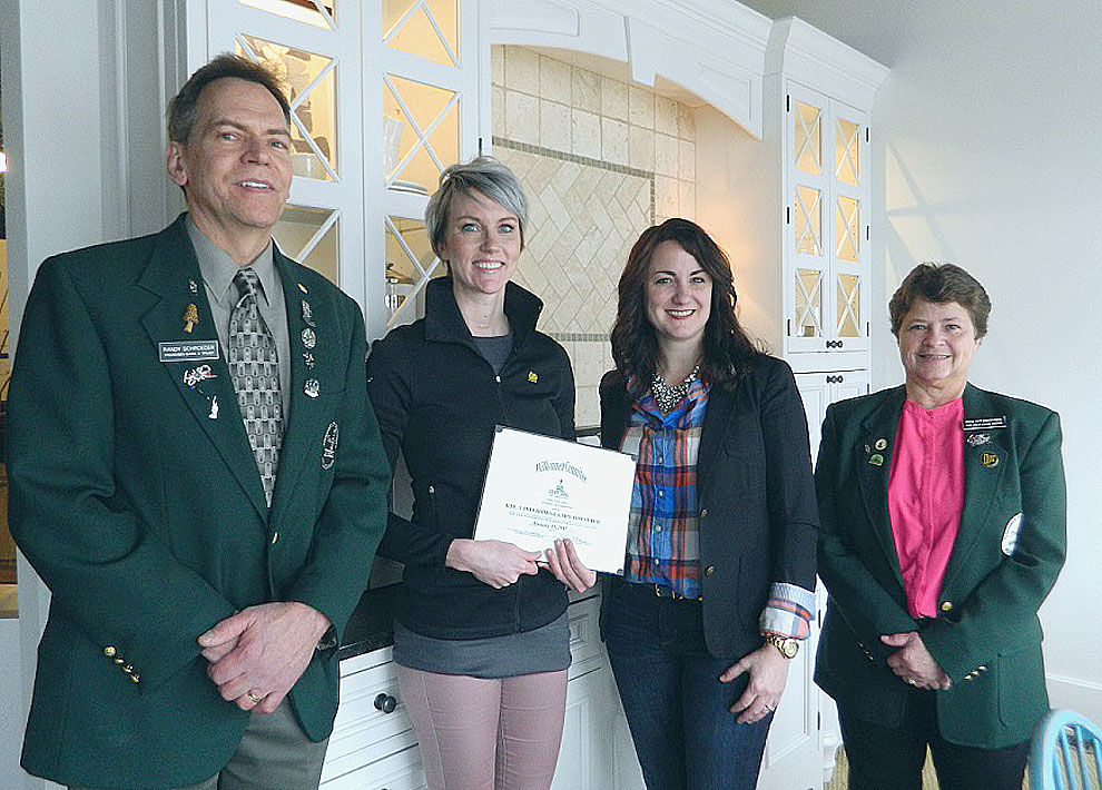The Willkommen Committee stopped in at Route 1 Interiors to welcome design assistant Cathy Forsythe. Owner Kari Linbo needed an extra staff person for the showroom beyond the intern she has during summer and winter breaks. Forsythe started in September and is the first person you see when you walk in. She was born and raised in New Ulm and worked in the salon industry for 10 years. She has a passion for design and has an eye for putting things together. Route 1 specializes in kitchens remodels and new construction. They have been in business since 2011 and this is the fourth year at their location on 101 South Minnesota. In the photo are: Randy Schroeder, Frandsen Bank & Trust; Cat Forsythe and Kari Linbo, Route 1 Interiors; and Pam Kitzberger, Oak Hills Living Center.
