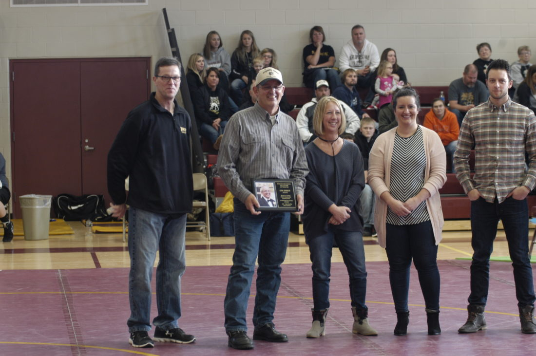 Dan Zimmer stands with his family as he is inducted into the Wabasso Hall of Fame on Jan. 14 at the Wabasso Activity Center. Zimmer was Wabasso's first-ever state champion with a 26-1 record at 132 pounds during the 1975-76 season.
