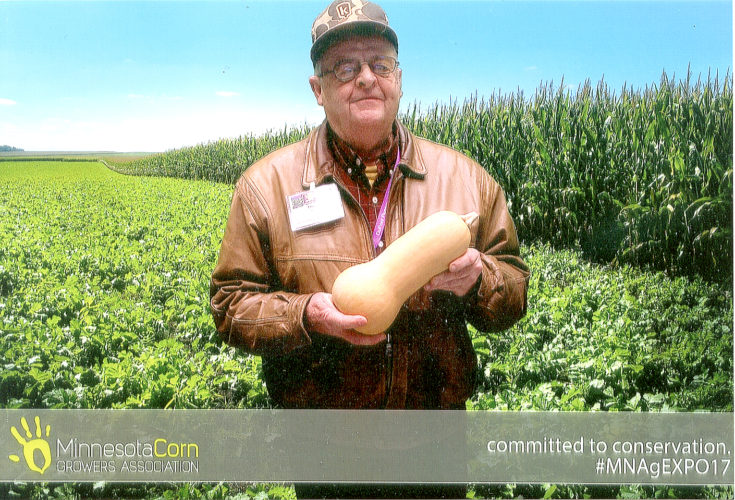 "Photo submitted by Duane Kolbe Delicious donation  Avid area gardener Duane Kolbe of East Linden Township recently donated 2,800 pounds of organic grown butternut squash to three area food shelves — New Ulm, Mankato and St. James. Kolbe attributes his gardening success to a ""kind Mother Nature together with a generouse application of TLC."""