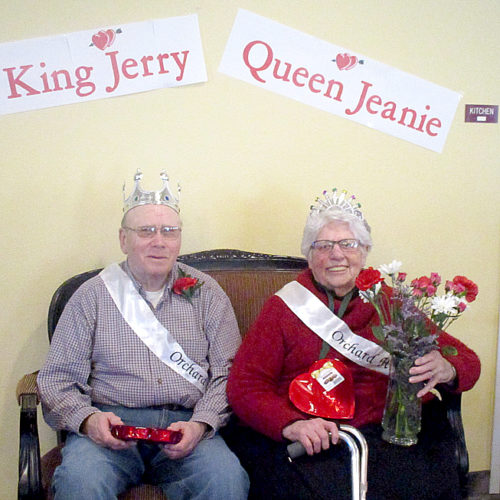 Submitted photo Orchard Hill Royalty  The staff and residents of Orchard Hill crowned the King and Queen for 2017 at their Annual Valentine's Day Party on Feb. 14, 2017. They are King Jerry Schriefer and Queen Jeanie Gareis.