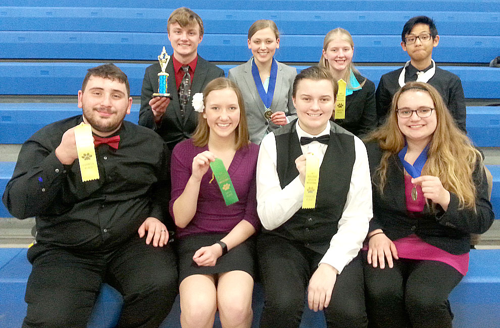 "Submitted photo New Ulm High School speach team members who placed among the finalists at the JWP ""Bulldog"" speech tournament Saturday are ictured: (left to right): Front row: Jordan Rummel, Abigail Allen, Megan Hietala, Rachel Dauer. Back row: Nick Schultz, Emma Maudal, Bethany Janssen, Fadhil Orbandi."