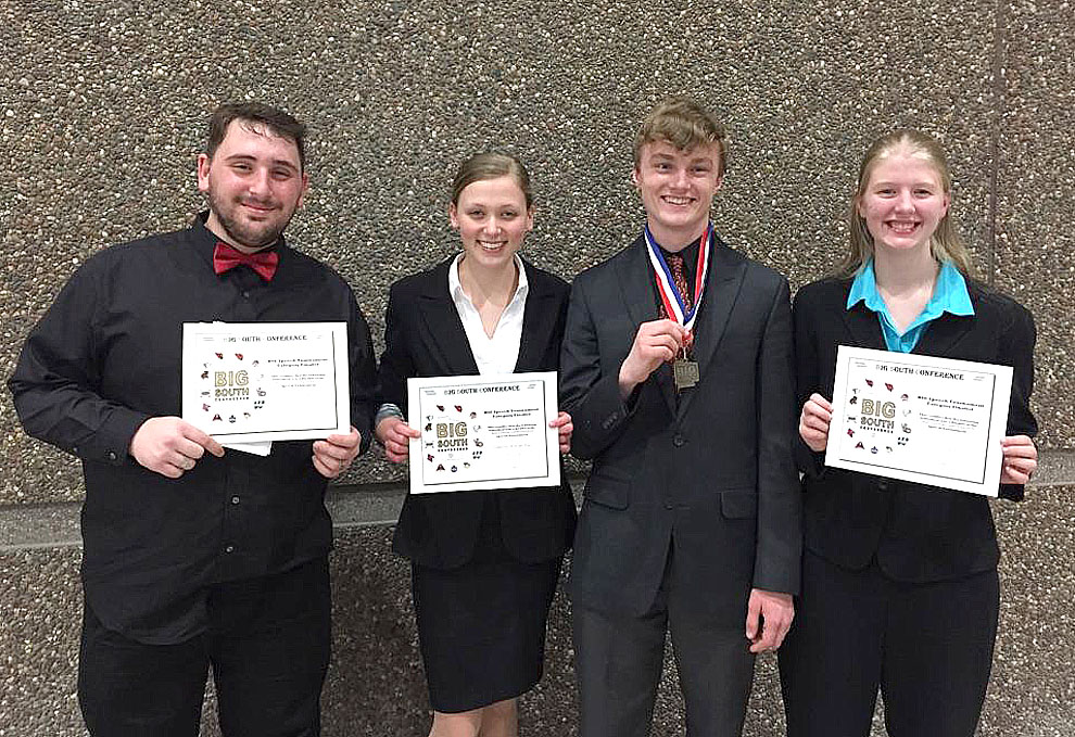 Submitted photo Pictured (left to right) are the New Ulm High School finalists from the Big South Conference Speech tournament last Thursday: Jordan Rummel, Emma Maudal, Nick Schultz, and Bethany Janssen. Not pictured: Rachel Dauer