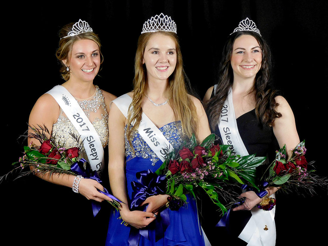 Staff photo by Clay Schuldt Miss Sleepy Eye 2017 Courtney Engholm (center) and 2017 Princesses Megan Sellner (left) and Maleah Berry (right) stand together for the first time after receiving their new titles.