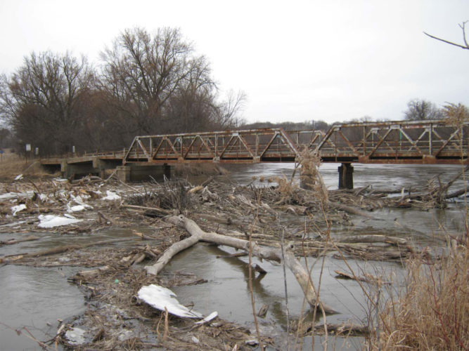 Submitted photo  Brown County Commissioners awarded a $82,600 debris removal project contract to River Ridge Construction Tuesday. The Franklin  bridge accumulated a large amount of large tree debris during high water last summer and fall.