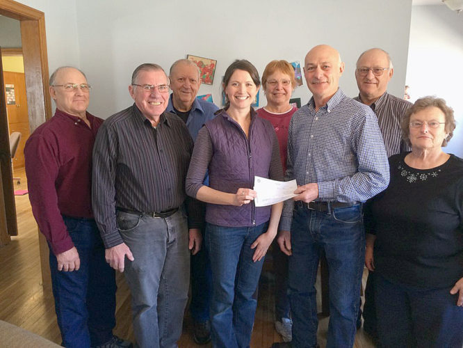The St. John's Catholic Order of Foresters #698, New Ulm donated the proceeds from their annual Sausage Supper, held Jan. 15, to the Southern Minnesota Crisis Nursery. The proceeds from the event were matched by the national Catholic Order of Foresters for a total of $3,054.03 donated.