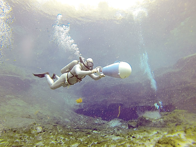 Photo courtesy of Mark Spencer Bentz using a Porta-sub underwater propulsion unit at the Sea Hunt Forever event.