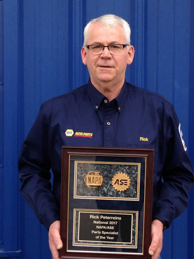 Submitted photo  Rick Peterreins has been named the NAPA/ASE Parts Specialist of the Year for 2017.