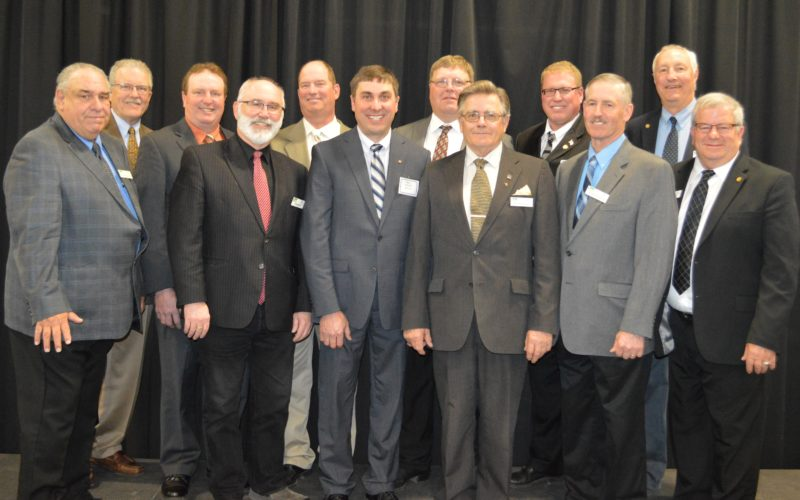 Submitted photo  The Board of Directors of the Brown County Rural Electric Association, left to right, Jim Mickelson, Attorney Bob Hinnenthal, Bill Berg, Allen Hanson, Jim Hanson, Greg Mages, Joel Christensen, Reuben Kokesch, CEO Mike Heidemann, Brad Sprenger, retiring General Manager Wade Hensel and Tom Hayes.