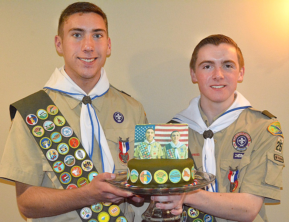 Submitted photo Connor Drill of Courtland, left, and Truman Pippert of New Ulm received the rank of Eagle Scout on April 15 at a ceremony at the New Ulm Country Club. Only four percent of Boy Scouts achieve the rank of Eagle Scout.