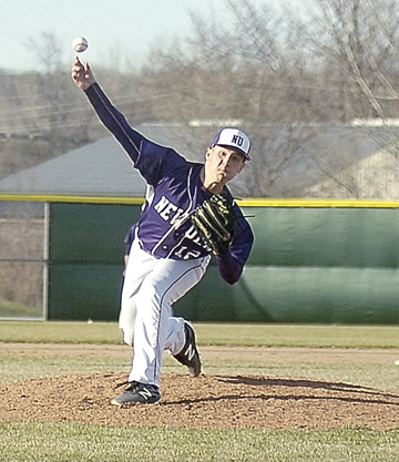 File photo by Steve Muscatello New Ulm's Cole Wellmann tosses a pitch in a 6-5 win against Hutchinson on April 4 at Mueller Park.