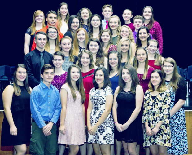 Submitted Photo Fredonia High School recently inducted 37 students into the National Honor Society. The students are: top row (from left to right): Anna Talbot, Gracie Morrison, Ciara Carlson-Healy, Reid Tarnowski, Melinda Waag and Rachel Bowman. Second row: Seth Schrader, Lauren Hill, Olivia Gullo, Sydney Aldrich and Tyler Hall. Third row: Kathryn Price, Lydia Bird, Mackenzie Bailey, Lydia Lanski and Grace Pucciarelli. Fourth row: Brendan Plaister, Claire Stokes, Lauren Kluck, Kyleigh Warren and Meredith Wheelock. Fifth row: Emily Gronquist, Alison Cortes, Hannah Gullo and Ashley Holt. Bottom row: Kelsey Vianese, Casey Huber, Francesca Arrieta, Jillian Valvo, Julia Drummond, Andrea Dietzen and Jenna Salisbury. Not pictured: Ian Brown, Breanna Rosen, Kevin Seybold, McKenzie Slocum and Cassandra Vecchio.