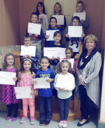 Submitted Photo Elementary Principal Michele Heenan awarded Student of the Month certificates to School 7 students who were chosen by their teachers to have been polite, courteous and continually working to the best of their ability. Pictured from left in the first row are: Alivia Damon, Kamilia Negron-Rivera, Victor Robles, Jessica Maines and Heenan. Second row: Mariusz Dobek, Joelitza Gonzalez Borrero and Hope Casey. Third row: Paul Trippy III, Yosuam Robles and Brett Kuhlman. Back row: Brooke Szymczak, Meghan Lancaster and Zachary Zentz. Missing from photo was Cortana Salgado. Meghan Lancaster represented School 7 at the November Board of Education meeting.