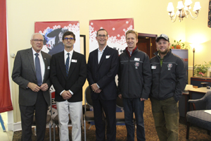 Submitted Photo Craig Randall, Mayor of Lake Placid; Tait Wardlaw, Empire State Winter Games Director; Mark Tryniski, CEO of Community Bank, N.A.; Gordy Sheer, past Olympic luge participant and ESWG alum; and Andrew Weibrecht, past Olympic alpine skier and ESWG alum pose for a photo at a press event at the CBNA branch in Canton on Oct. 26.