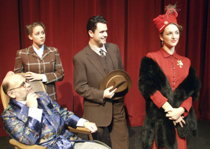 "Submitted Photo The cast of the Department of Theatre and Dance production of ""The Man Who Came to Dinner"" includes, from left, Tom Loughlin as Sheridan Whiteside, Gretchen Martino as Maggie Cutler, Josh Carey as Bert Jefferson and Carly Dieck as Lorraine Sheldon"