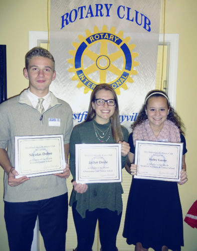 "Submitted Photo The Rotary Club of Westfield-Mayville recognized Nicolas Dohre of Brocton Central School, Jaclyn Doyle of Chautauqua Lake Central School, and Hailey Garske of Westfield Academy and Central School as ""Scholars of the Month"" at its Nov. 15 meeting."