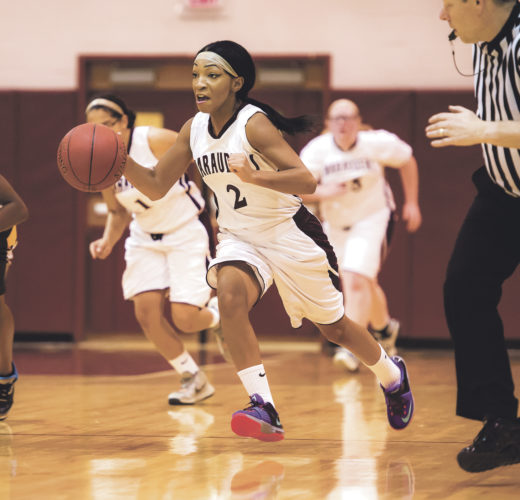 OBSERVER Photos by Ron Szot Above, Dunkirk's Jada Neal (2) runs the fast break during Thursday's non-league girls high school basketball game against CSAT.