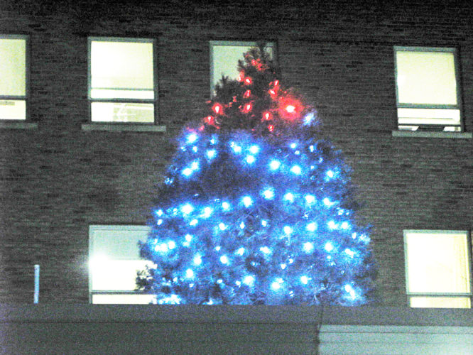 OBSERVER Photo by Amanda Dedie A bright Christmas tree stands atop a lower roof of the Brooks Memorial Hospital building, flashing dozens of donations represented by twinkling lights on the tree.