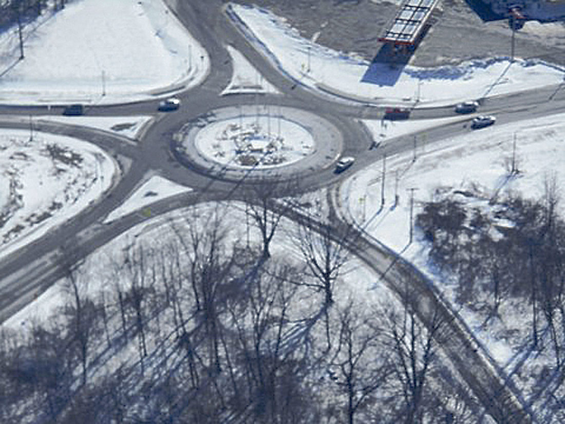 This photo, taken in 2014 by Al Liedke, shows the roundabout in Irving. A roundabout is proposed for the Fredonia intersection.