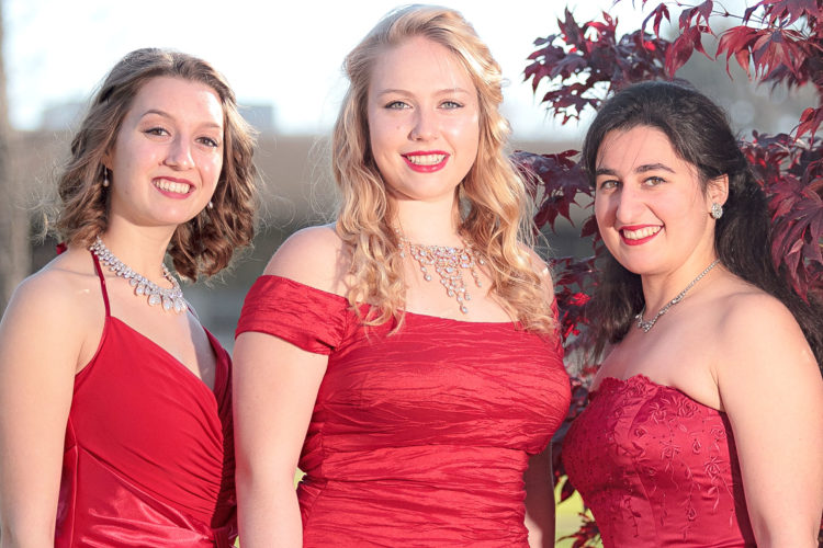 "Photo by Kevin Michki Fredonia State students Julianna R. Grabowski, Lucia E. Helgren and Mariami Bekauri will be featured, along with The Highland Divas and the Western New York Chamber Orchestra, when Rockefeller Arts Center presents ""Poinsettia Pops"" on Thursday, Dec. 8 at 7:30 p.m. in King Concert Hall at the State University of New York at Fredonia."