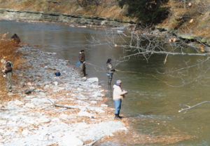 OBSERVER Photo  by Gene Pauszek Chautauqua Creek trout anglers looking for success.