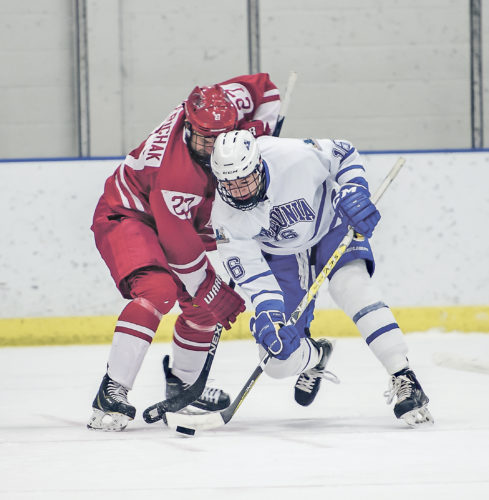 OBSERVER Photo by Ron Szot Fredonia's Ryan Dunn (16) fights for control of the puck with Cortland's Sean Perichak, during their SUNYAC men's hockey game on Saturday at the Steele Hall Ice Arena.