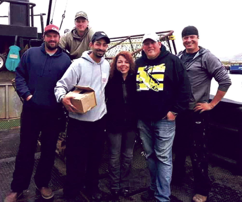 "Patty with reality TV stars of the ""Deadliest Catch."""