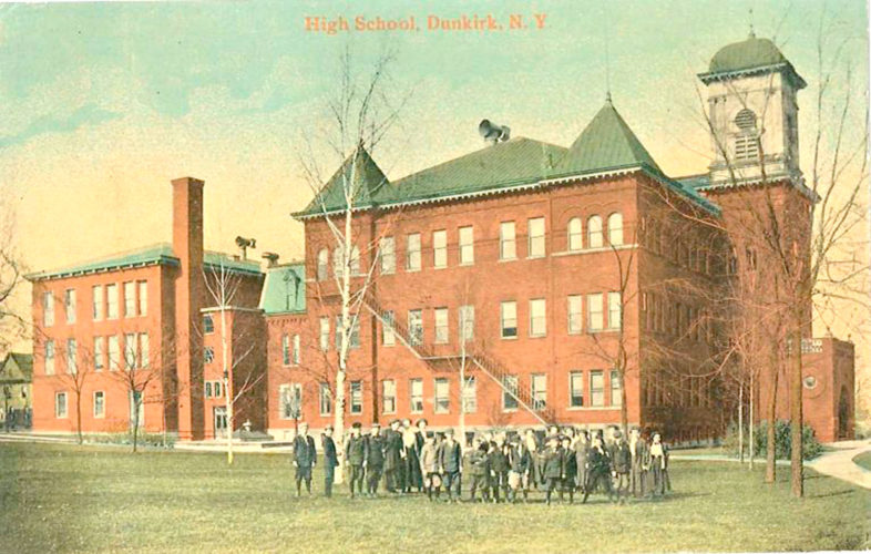 The Dunkirk High School administration was sent a postcard, dated around 1915, of the old Dunkirk High School building.