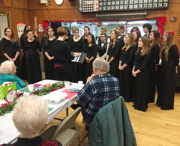 Submitted Photo The Valley Minstrels from the Cassadaga Valley Central School were the musical performers for the Sinclairville Senior Citizens at the annual Christmas luncheon and program. The Minstrel group is led by Mrs. E. Beichner.