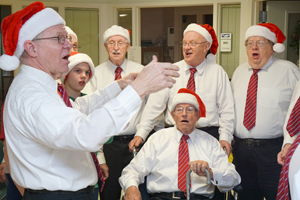 Submitted Photo Pictured in photo, the 2016 Holiday Season is marked by the return of the well-known Jamestown Harmony Express barbershoppers who kicked off the season with a visit to UPMC Chautauqua WCA. Pictured, the all-male choir toured the hospital singing to nursing staff, patients, and visitors with a medley of A cappella holiday harmonies. The Jamestown Harmony Express, under the music directorship of David Lewis; and assistant director, David King; has performed locally and in many venues outside the area including, The Walk Resort in Branson, Missouri; Buckeye Invitational, Columbus Ohio; and the New Year's Day Parade, in London England. To learn more about the barbershoppers, visit harmonyexpress.com. For all of the ways that UPMC Chautauqua WCA cares for you, visit upmcchautauquawca.org.