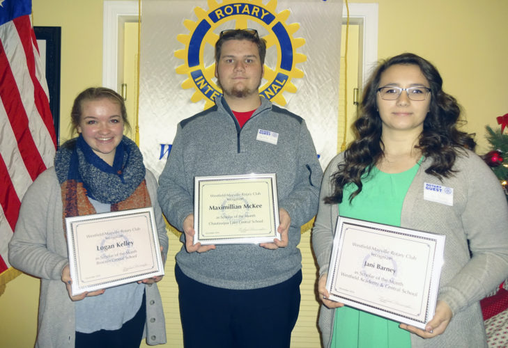 Submitted Photo Westfield-Mayville Rotary Scholars of the Month were honored on Dec. 20. From left are: Logan Kelley of Brocton Central School, Maximillian McKee of Chautauqua Lake Central School, and Jani Barney of Westfield Academy and Central School.