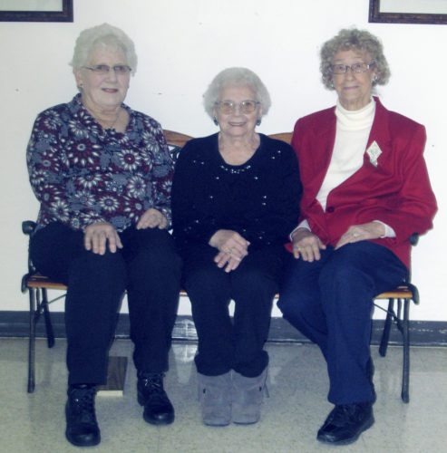 OBSERVER Photo by Gib Snyder The Lake Shore Seniors met Jan. 4 at the Dunkirk Senior Center. Installation of officers followed the meeting. Pictured from left are: Treasurer Betty Korzeniewski, Secretary Josie Wierczynski and President Stella Michalak. Vice President Sophia Kubasik was not present.