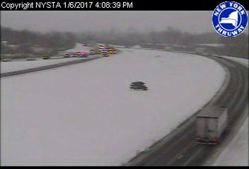This photo, provided by the state Thruway, shows westbound vehicles exiting at Dunkirk-Fredonia.