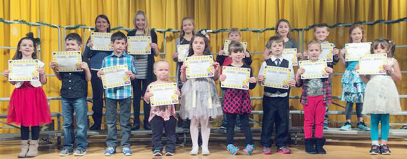 Submitted Photo On Dec. 22, Brocton Elementary School celebrated its character education assembly. Sixteen students were chosen as Students of the Month representing grades K through 5. These students demonstrated the traits of kindness and caring on a daily basis. The following students were chosen as Students of the Month for December; front row from left: Grace Lundin, Aiden McKenna, Konner Willingham, Kazlyn Trask, Sarah DiLorenzo, Taylor Stoll, Logan Lanphere, Khloe Krauter and Dana Shaw. Second row: Faye Hilliker, Andrea Spiller, Hailey Carlson, Joseph Watson, Alyssa Stein, Anthony Gatto and Gemma (Evie) Morrison.