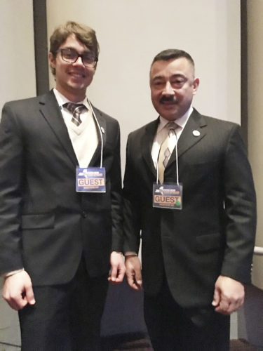 Submitted Photo Dunkirk Mayor Willie Rosas (right) stands with his son, Jordan, at Governor Andrew Cuomo's State of the State address in Buffalo, Monday. Rosas sat in the front row and attended with several city staff members.