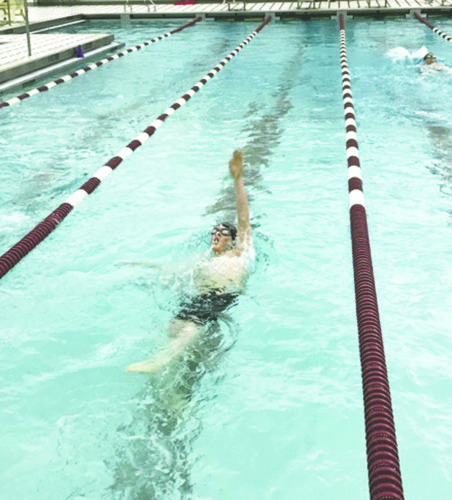 Submitted Photo Dunkirk/Cassdaga Valley/Fredonia/Brocton's Ronan Murphy competes in the individual medley during Tuesday's CCAAboys high school swimming and diving meet.