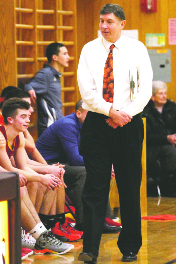OBSERVERPhoto by Lisa Monacelli Olean coachJeff Anastasia picked up his 545th career victory Tuesday with a 70-44 win over Fredonia. The 545 wins sets the record for all time wins by a Western New York coach.