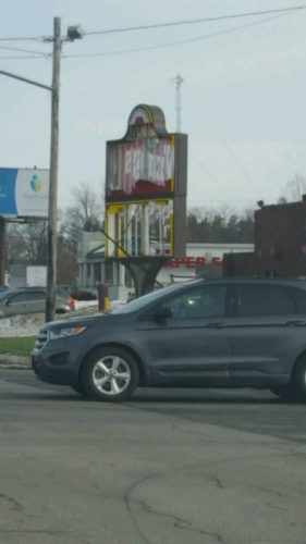 The sign at the Wendy's restaurant at Routes 60 and 20 in Fredonia was damaged by high winds this morning.