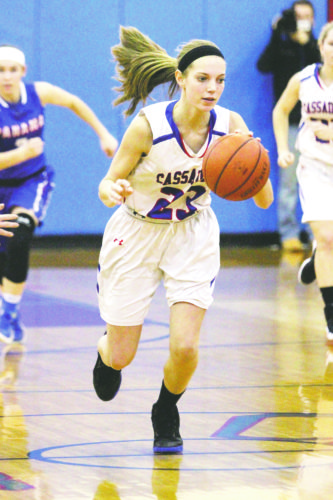 OBSERVERPhoto by Lisa Monacelli CassadagaValley's Sara Briggs (23) leads a fast break during Thursday's CCAAWest 2 girls high school basketball game.