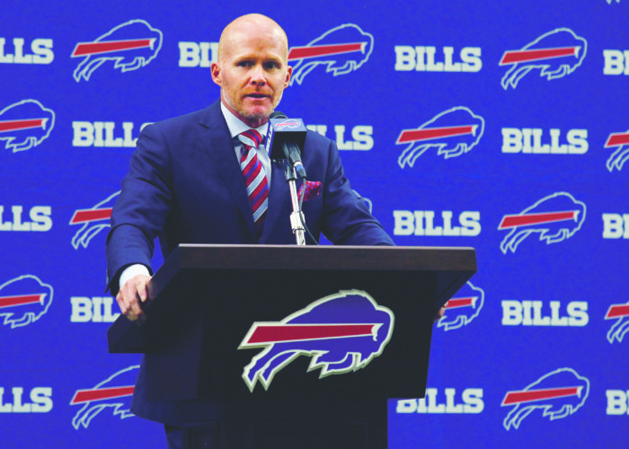 Buffalo Bills NFL football team new head coach Sean McDermott addresses the media during a press conference, Friday, Jan. 13, 2017, in Orchard Park, N.Y. (AP Photo/Jeffrey T. Barnes)