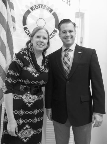 Submitted Photo Kirk Young, Ph.D. (right), Jamestown Community College vice president, was a guest speaker at a recent meeting of the Rotary Club of Westfield-Mayville. He was introduced by Adele Harrington (left), the group's immediate past president.