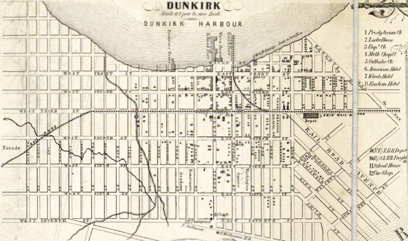 Submitted Photo A map of Dunkirk in the 1850s that ran in the Feb. 20, 1978 OBSERVER.