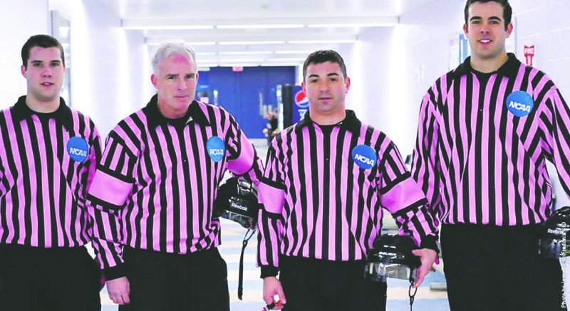 "Photo Courtesy of SUNY Fredonia Referee jerseys like these will be auctioned Saturday during the annual ""Pink The Rink"" hockey game at Steele Hall. The game is set for 7 p.m."