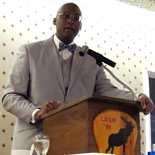 Keynote speaker Dr. Cedric Howard, vice president of Student Affairs at SUNY Fredonia, addressed the crowd at Monday's Dr. Martin Luther King Jr. Luncheon in Dunkirk.