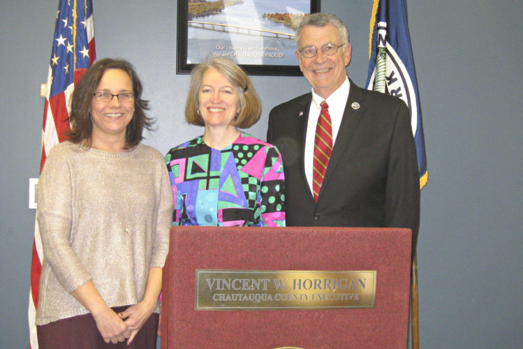 Submitted Photo Pictured, from left: Kitty Crow, new finance director; Kathleen Dennison, new budget director; and Vince Horrigan, Chautauqua County executive.