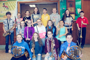 Submitted Photo Seventeen seventh and eighth grade band students from the Westfield Band program were selected to participate in the twenty-third annual Chautauqua Middle School Band Day. The students began their day at the event, hosted by SUNY Fredonia, attending a master class with an adult expert on their instrument. They then went to a full band rehearsal, with the 7th and 8th graders each forming their own band of well over 100 student and adult musicians. Each of the bands rehearsed with a guest conductor: Jamie Sigler (Southwestern) conducted the seventh graders, and Brian Hornbuckle (Brocton) conducted the eighth graders. The students were able to sit alongside the adult musicians for their instrument. The students were also treated to a jazz concert between their dinner and the concert. The finale concert was held in King Concert Hall, and the first half was dedicated to a performance by the adult musicians who played a varied program of music by American composers. The seventh grade expansion of the Chautauqua Concert Band performed next, followed by the eighth grade expansion.