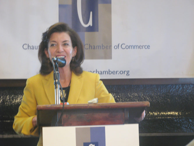 OBSERVER Photo by Amanda Dedie State Lt. Gov. Kathy Hochul spoke at the Chautauqua County Chamber of Commerce's annual meeting Friday.